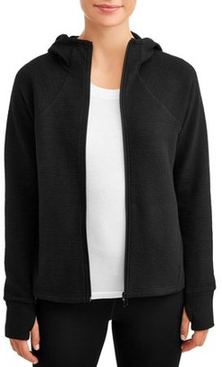 Athletic Works Women's Athleisure Ribbed Zip Front Jacket with Hood