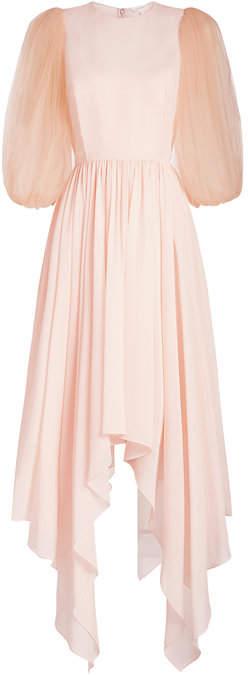 DELPOZO STYLEBOP.com Exclusive Silk Dress with Chiffon Sleeves