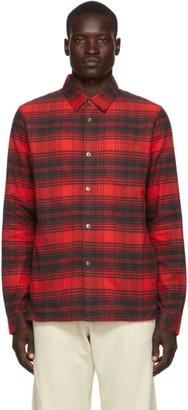 John Elliott Red Plaid Straight Hem Shirt