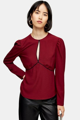 Topshop Womens Plain Long Sleeve Keyhole Blouse - Berry Red