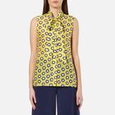 Moschino Women's Sleeveless Tie Neck Blouse Yellow