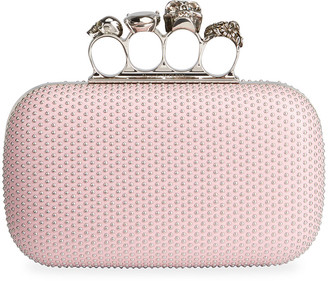 Alexander McQueen Studded Leather Skull Four-Ring Clutch Bag