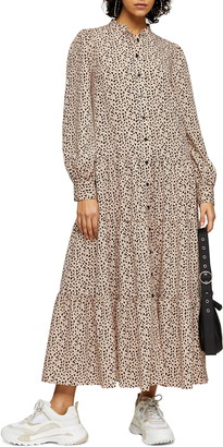 Topshop Spot Tiered Long Sleeve Maxi Shirtdress