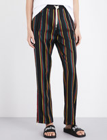 Palm Angels Ladies Black Striped Relaxed-Fit Mid-Rise Wool And Cotton-Blend Jogging Bottoms