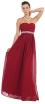 May Queen - MQ-1169 Strapless Bejeweled A-Line Gown