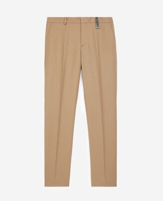 The Kooples Camel-coloured wool trousers w/leather detail