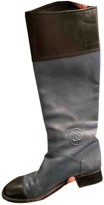 Chanel Navy Leather Boots