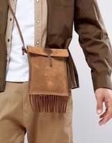 Asos Flight Bag In Tan Suede With Emboss Detail