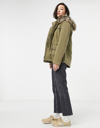 Only Starline short parka in green