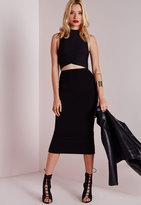 Missguided Longline Jersey Midi Skirt Black