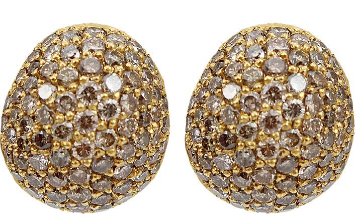 Yossi Harari Small Cognac Diamond Roxanne Earrings