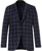 Isaia Blue Slim-fit Checked Wool-blend Blazer - Navy