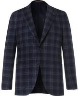 Isaia Blue Slim-Fit Checked Wool-Blend Blazer
