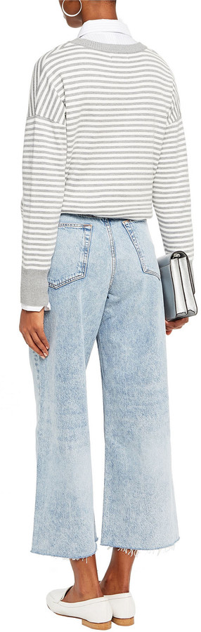 Thumbnail for your product : Rag & Bone Cropped Faded High-rise Wide-leg Jeans