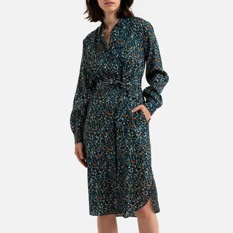 Derhy Knee-Length Shirt Dress in Leopard Print