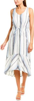 DREW Callie Linen-Blend Midi Dress