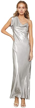 BCBGMAXAZRIA Lame One Shoulder Gown (Silver) Women's Dress