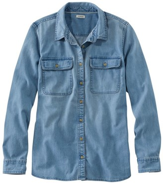L.L. Bean L.L.Bean Women's Heritage Washed Denim Shirt, Long-Sleeve
