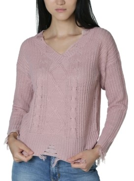 No Comment Juniors' Destructed Cable-Detailed Sweater