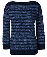 Lands' End Women's Petite Lofty 3/4 Sleeve Tweed Sweater-Radiant Navy Tweed