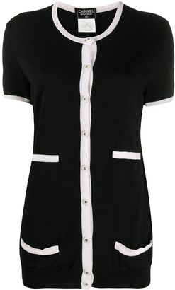 Chanel Pre Owned Contrast Trim Knitted Top