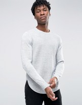 Asos Textured Knit Sweater with Curved Hem