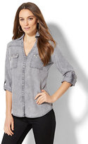 New York & Co. Soho Soft Shirt - Embellished Pocket - Stone Grey Wash