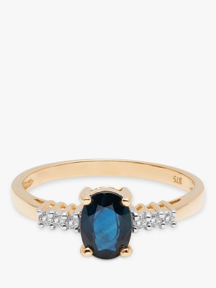 A B Davis 9ct Gold Sapphire and Diamond Shoulder Engagement Ring
