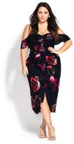 City Chic Decadent Floral Dress - black