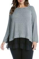 Karen Kane Plus Size Women's Tiered Hem Stripe Knit Top