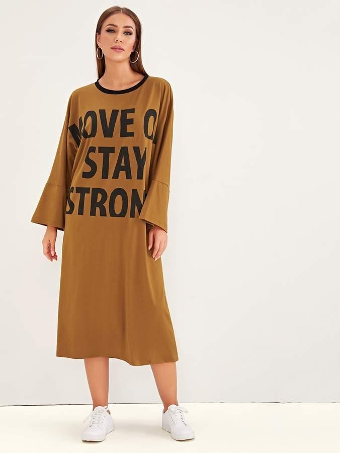 Shein Slogan Print Flounce Sleeve T-shirt Dress
