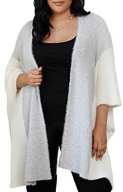 Belldini Plus Fuzzy Color-Block Open Cardigan