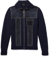 Prada Suede-Panelled Wool and Cashmere-Blend Zip-Up Sweater