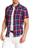 Lucky Brand Mens Santa Fe Short Sleeve Classic Fit Shirt, Blue Plaid