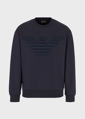 Emporio Armani Sweatshirt With Oversized, Embossed Eagle Embroidery