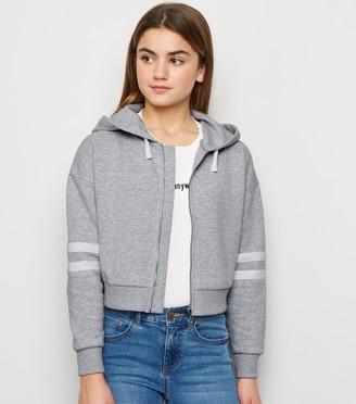 New Look Girls Stripe Sleeve Zip Hoodie