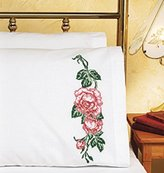 "Janlynn Roses Pillowcase Pair Stamped Cross Stitch-20""X30"""