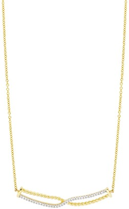 Bony Levy Mykonos 18K Yellow Gold Pave Diamond Crossover Pendant Necklace - 0.08 ctw