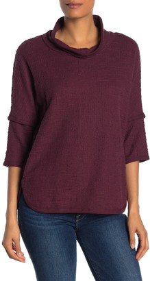 Max Studio Cowl Neck 3/4 Length Sleeve Knit Top