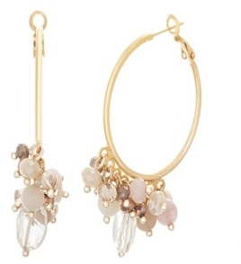 Catherine Malandrino Women's Multicolored Soft Pink Toned Jewels Yellow Gold-Tone Layered Hoop Earrings
