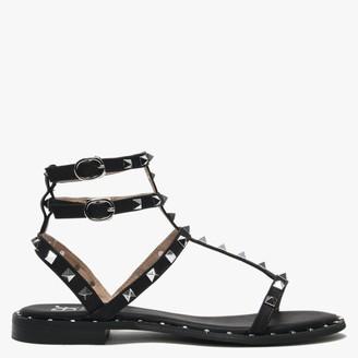 Df By Daniel Cuboid Black Studded Gladiator Sandals