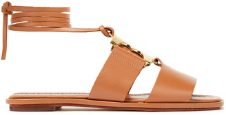 Tory Burch Embellished Leather Lace-up Sandals