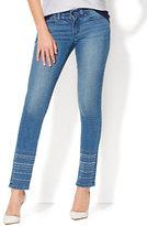 New York & Co. Soho Jeans - Embroidered-Hem Skinny - Blue Charmer Wash