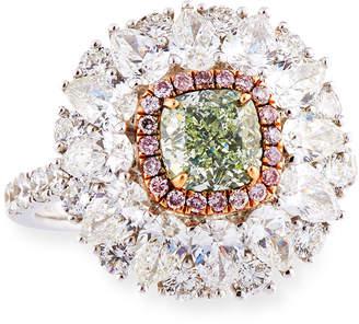 Alexander Laut Light Green Diamond Ring with Pink & White Diamonds, Size 6