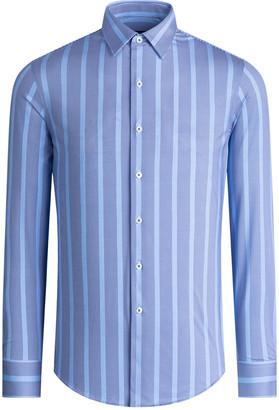 Bugatchi Men's Awning Striped OoohCotton Tech Sport Shirt