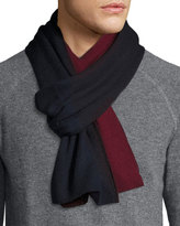 Portolano Two-Tone Knit Scarf, Heather Charcoal/Light Heather Gray