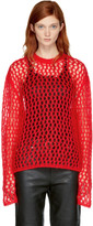 McQ Red Mesh Mohair Sweater