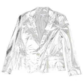 Faith Connexion Silver Leather Jacket for Women