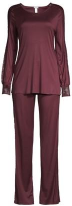 Hanro Two-Piece Amanda Lace Trim Pajama Set
