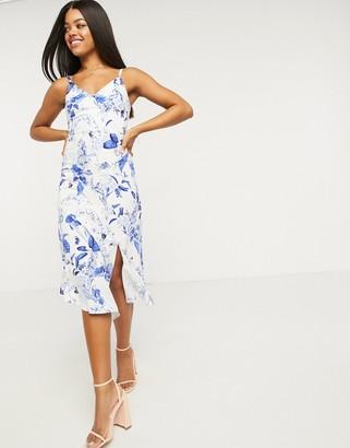 Lipsy linen broderie asymmetric maxi dress in blue floral print